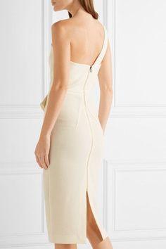 Roland Mouret - Anerley One-shoulder Wool-crepe Dress - Cream - UK18