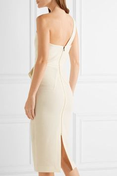 Roland Mouret - Anerley One-shoulder Wool-crepe Dress - Cream - UK18