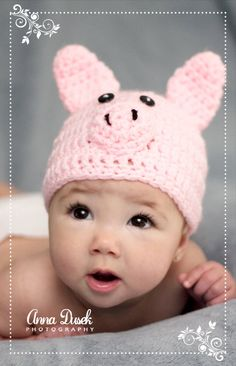 f79d36b47df Crochet Baby Hat Beanie Little Pig Any Size by AnnaDusekCreations