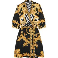 Versace Wrap-effect printed silk-twill mini dress ($1,790) ❤ liked on Polyvore featuring dresses, versace, effect, mini, net-a-porter, versace dress, white wrap dress, white day dress, short wrap dress and wrap dress