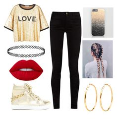 """""""Gold Shimmer Outfit"""" by monaysha on Polyvore featuring MANGO, Gucci and Lime Crime"""