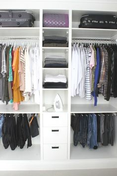 Great custom storage for a walk-in closet.
