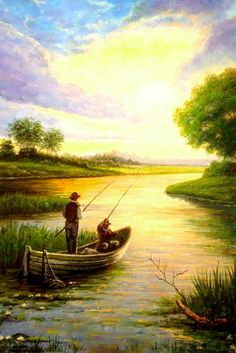 """Pin ~ by Mary Agnes ~ Theme: """"fishing art"""" Beautiful Paintings, Beautiful Landscapes, Landscape Art, Landscape Paintings, Oil Painting App, Scenery Paintings, Gone Fishing, Fish Art, Pictures To Paint"""