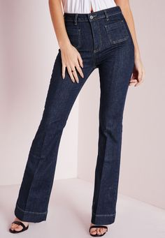 Wild Child Pocket Detail 70's Kickflare Jeans Indigo Blue - Jeans - High Waisted Jeans - Missguided