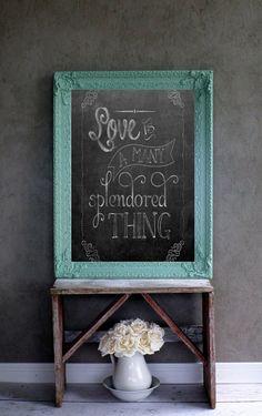 XL Aqua Chalkboard Shabby Chic Cottage Chic Wedding Sign
