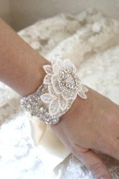 Crystal Bridal Cuff with Lace Flower by VenustBridal on Etsy, $48.00