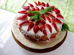 Lemon Cocnut Cake with Strawberries also dairy and egg-free besides G/F