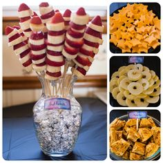 Space Theme Birthday Party ideas!! Food ideas: Fruit rockets with bananas and strawberries, cheese cut like stars, apple rings for Saturn's rings, and old fashioned sponge candy (with recipe and it's easy to make!) for meteorites. And many other ideas!!!!