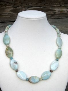 Amazonite Oval and Round Bead Necklace