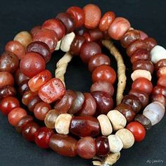 Trade Beads | Antique African Trade Carnelian & Stone Beads. Material:Carnelian Quartz Agate. Origin:Most Likely Indian Sub-continent. Age:Est 100 - 800 Years