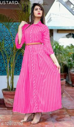Kurtis & Kurtas Charvi Stylish Women Gowns Fabric: Synthetic Crepe Sleeve Length: Three-Quarter Sleeves Pattern: Printed Multipack: 1 Sizes:  S (Bust Size: 36 in, Length Size: 52 in)  XL (Bust Size: 42 in, Length Size: 52 in)  L (Bust Size: 40 in, Length Size: 52 in)  M (Bust Size: 38 in, Length Size: 52 in)  XXL (Bust Size: 44 in, Length Size: 52 in)  XXXL (Bust Size: 46 in, Length Size: 52 in)  Country of Origin: India Sizes Available: S, M, L, XL, XXL, XXXL   Catalog Rating: ★4 (431)  Catalog Name: Aradhya Designer Women Gowns CatalogID_2524058 C74-SC1001 Code: 484-12970799-