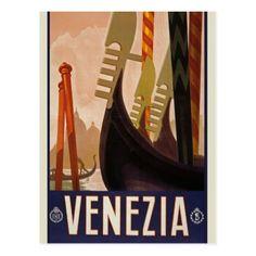 Vintage Venezia Italy Travel Tourism Postcard - travel photos wanderlust traveling pictures photo