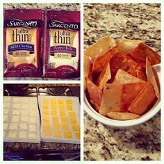 Instead of buying cheez-it crackers at the store full of salt and carbs…make your own at home! Healthier and a delicious snack. Photos and recipe byConnie Sutton. Supplies Needed: Ultra thin cheese slices (any kind) Parchment paper Knife Start by cutting the pieces of cheese into 4 and placing them on parchment paper. Bake in …