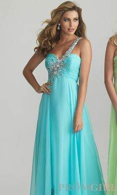 One Shoulder Prom Dresses, Night Move Evening Gowns- PromGirl