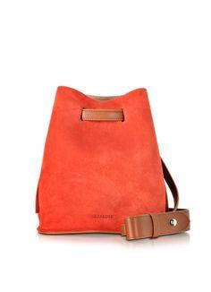 Jil Sander Small Bucket Handtasche aus Leder und Wildleder in braun und orange