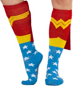 Must add to my running outfit....Wonder Woman socks with cape !!!   Check out there superman one, it's cheaper ! hhmm