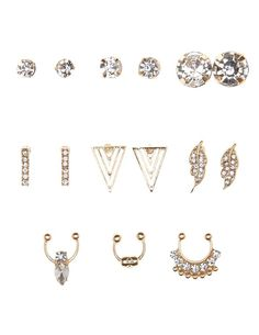 Gold Embellished Earrings & Faux Septum Rings - 9 Pack by Charlotte Russe