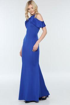 2419e24f79da6 Mavi Omuz Fırfırlı Uzun Abiye 180 - Kapıda Ödemeli Ucuz Bayan Giyim Online  Alışveriş Sitesi modivera