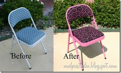 Before and After chair. These would be really nice with some fabulous fabric. I'll be looking for these chairs at yard sales and thrift shops to redo.