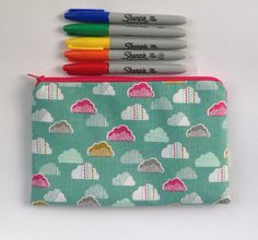 Large pencil case clouds on green Dashwood by BettyBlooShop