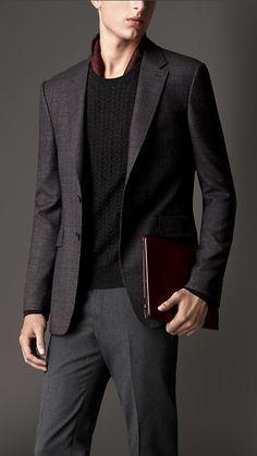 Burberry London Modern Fit Travel Tailoring Virgin Wool Jacket Camisa  Social Azul 16bf1b852c1
