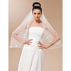 Two-tier Tulle With Pearls Fingertip Veil – USD $ 7.51