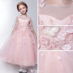f51fe4faf Hermoso Lglesia Vestidos para bodas 2017 Vestidos para niñas Rosa Clara Té  De Longitud Ball Gown 1 2 Ærmer Scoop Escote Sin Espalda Flor mariposa  Apliques ...