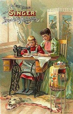 'The first lesson vintage art' vintage poster of old singer sewing machine promotional art Images Vintage, Vintage Cards, Vintage Postcards, Vintage Ephemera, Vintage Signs, Couture Vintage, Retro Poster, Antique Sewing Machines, Vintage Sewing Notions