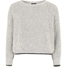 TOPSHOP Salt and Pepper Cotton Top (235 PEN) ❤ liked on Polyvore featuring tops, sweaters, shirts, jumpers, stone, cotton jumper, cotton sweater, topshop jumper, white top and slouch sweater