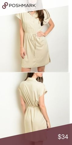 NWT Comfy and fun, Beige tie dress Short sleeve tie dress Dresses