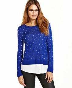 kensie Layered Dot Sweater