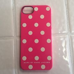 iPhone 5s phone case Marc By Marc Jacobs pink with whit polka dots slightly used Marc by Marc Jacobs Accessories Phone Cases