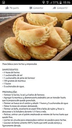Basic dough pies and empanadas Empanada dough, Meat Empanadas, Fritters, … in 2020 (With images) Mexican Sweet Breads, Mexican Dishes, Mexican Food Recipes, Empanadas Recipe Dough, Empanada Dough, Baked Empanadas, Plats Latinos, Cake Recipes, Snacks