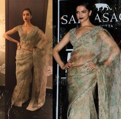 When she wore this Sabyasachi beauty which I wish to be bequeathed unto me. Deepika Padukone Makeup, Dipika Padukone, Knot Bun, Simple Sarees, Pull Off, Sabyasachi, Cool Outfits, Sari, Stylists