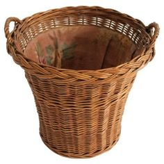 Check out this item at One Kings Lane! Fabric-Lined Wicker Basket
