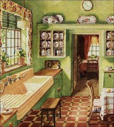 Mind Blowing Cool Tips: Vintage Home Decor Romantic Spaces vintage home decor inspiration cabinets.Classic Vintage Home Decor Shabby Chic vintage home decor on a budget house.Vintage Home Decor Chic Pink. 1920s Kitchen, Old Kitchen, Green Kitchen, Retro Kitchen Tables, Vintage Kitchen Sink, Vintage Kitchen Curtains, Vintage Curtains, Kitchen Colors, Country Kitchen
