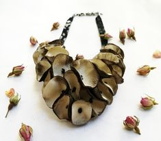 Unique Necklaces, Handmade Necklaces, Handmade Wallets, Handmade Items, Gold Flowers, White Flowers, Infinity Jewelry, Unique Gifts For Women, Leather Necklace