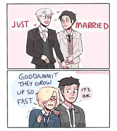 "randomsplashes: "" randomsplashes: "" headcanon: yurio acting like a proud parent and totally bawling his eyes out over yuuri and victor's wedding "" plot twist: it turns out that ur next….yurio """