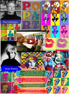 Pop art is an art movement that emerged in the mid-1950s in Britain and in the late 1950s in the United States. Pop art presented a challenge to traditions of fine art by including imagery from popular culture such as advertising, news, etc. In pop art, material is sometimes visually removed from its known context, isolated, and/or combined with unrelated material. #Glogster #PopArt #Art