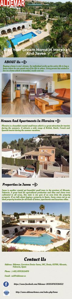 Houses in location like Moraira are a pure delight. Properties varying from apartments to villas in Moraira are available for sale. Real estate or property agents in Moraira offer the best houses, apartments, flats, and villas in Moraira. For more details you can visit other website http://www.aldemarhomes.com/index.php/home