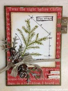 Pine Branch Blueprint Card by Richele Christensen