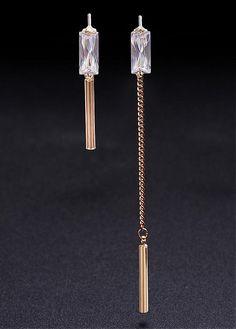 54ba8baf5 Asymmetric 18K Gold Plated Stud Earrings, AAA Zircon with Bar, Golden, 65mm  18k
