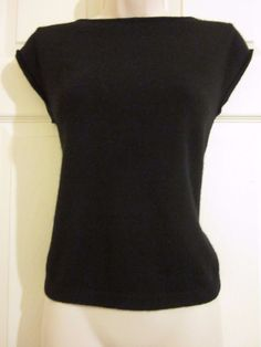 Ann Taylor Two-Ply 100% Cashmere Black Cap Sleeve Sweater Size Medium M #AnnTaylor #Blouse #Casual