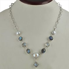 HOT STYLE 925 STERLING SILVER FANCY PEARL & LABRADORITE NECKLACE 19.44g NK0029 #Handmade #NECKLACE