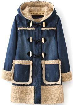 Navy Hooded Long Sleeve Pockets Denim Coat 47.67