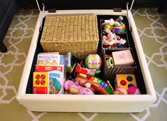 organizing kid stuff via Amy Young house love --- yank out anything your kid doesn't currently play with (no maybes, just leave favorite toys only) and stash the rest in a big plastic bin in the closet or an under-bed storage container.  Rotate other toys in and out whenever the mood strikes. But I always keep it to one basketful. That's the key. She loves when new things show up, since it seems to keep her interested.