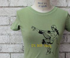 Roller derby Tshirt, I'd Hit That, funny shirt,  screenprinted, Apple Green, Womens Tshirt, Ladies Tee Shirt, Women's Clothing