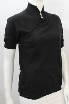 Miu Miu Black Side Button Short Sleeve Sweater Top | juneresale.com