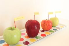 Today, instead of preparing a post-nap snack for Miss G as I usually do, I set out this… A collection of 4 different apples waiting to be observed and tasted. I'd prepared for the activity last week while grocery shopping and picked up a granny smith apple, a red delicious one, a gala, and a golden delicious one too. Just for fun, I used coloured toothpicks and washi tape to make little label flags. Miss G was immediately drawn to...  Read more »