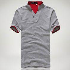 Mens Cotton V Neck Solid Color Classic Color Splicing Collar Polo Shirts at Banggood